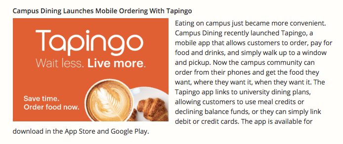 Campus Dining Launches Mobile Ordering with Tapingo