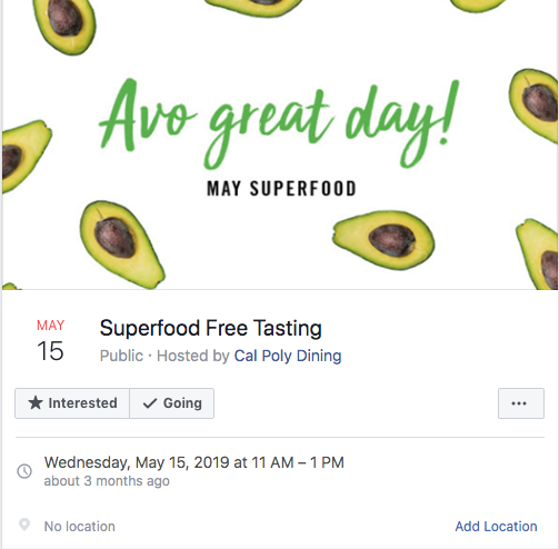 Superfood Free Tasting hosted by Cal Poly Dining Facebook Event
