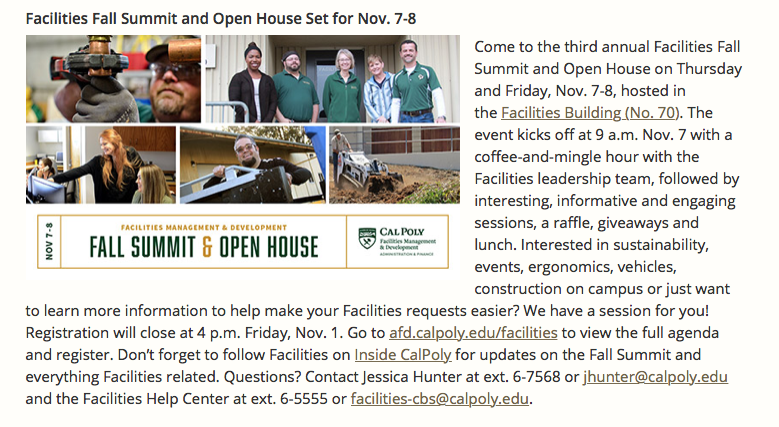 Fall Summit and Open House CP Report